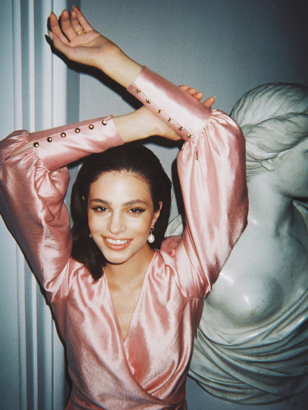 Satin blouse in pink